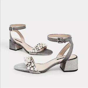 Zara Basic Silver Velvet & Pearl Heels